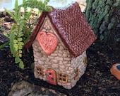 Outdoor Fairy Garden House Stone Look Ceramic with Heart Design BFH0128
