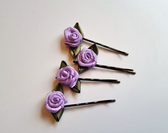 Rose bud satin ribbon flower bobby pin hair clips
