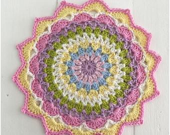 Crochet Mandala,Mandala Doily,Tablemat,Crochet Coaster Ready to Ship,