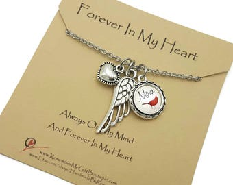 Sympathy Gift, Cardinal Necklace, Personalized Jewelry, Angel Wing Jewelry, Memorial Gift, Memorial Jewelry, In Memory of, Remembrance Gift