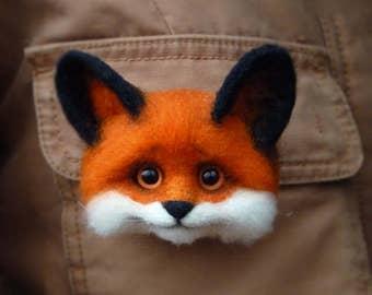 3D brooches Felt fox Animals brooch pins Felted brooch fox Brooches animals Fox animals 3D brooch Wool fox Beautiful brooch Cute fox 3D fox