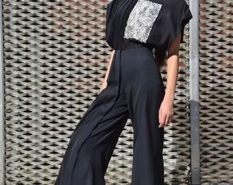 Jumpsuit fresh wool/pantsuit/pants black/silk jumpsuit 50% discount