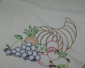 "Tea Towel lARGE Vintage Cotton Flour Sack Dish Towel w/ Hand Embroidered ""Cornucopia & Fruit"", Hemmed"