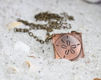 Sand Dollar Copper Necklace - Ocean Themed Jewelry - Beach Jewelry Gift Ideas for Her - Copper Necklace for Her - Ocean Necklace - Ocean