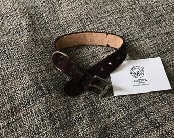 Leather dog collar 'Chocolate'