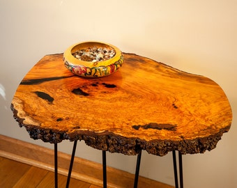 Natural Edge Cherry Burl End Table