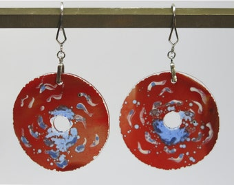 Fused hand-painted glass earrings