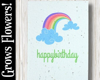 """GROWS WILDFLOWERS! - """"Happy Birthday"""" - Plant the Card - 100% recycled - #BD018"""