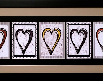 Letter Art-Five Hearts-unique gift-beautifully framed and detailed-customizable