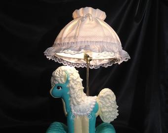 Nursery Lamp,Pony Lamp,Ceramic Hand Painted Pony Lamp,Pony on Pillow Lamp,Vintage Nursery Lamp,Vintage Nursery,Ceramic Pony,Teal Yellow Lamp