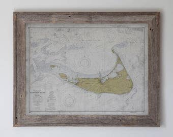 Nantucket Map : Vintage Nautical Map of Nantucket - Circa Early 20th C. - Weathered Map