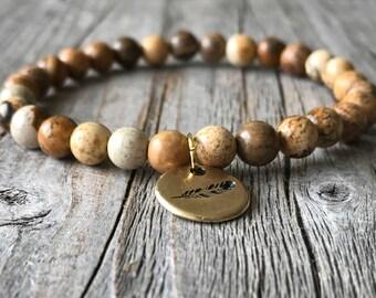 Woman gemstone brown bracelet, stretch stacking bracelet, beaded surf bracelet, feather charm bracelet, bohemian bracelet, woman gift idea