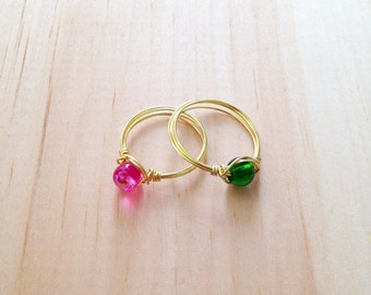 Round Glass Bead Wire Wrapped Ring