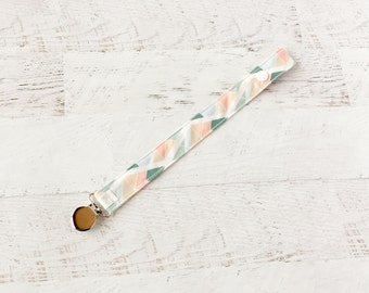 Pacifier Clip-Pink-Mint-Triangles-Geo-Soother Clip- Paci Clip- Binky Clip