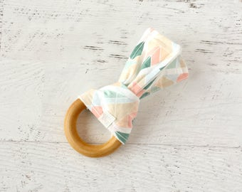 Baby Wooden Teething Ring-Mint and Pink-Geo-Fabric and Wooden Teething Ring with Crinkle Material Inside- Sensory Toy