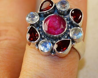 Ruby, Moonstone, Garnet    & 925 Sterling Silver Ring size 9.25