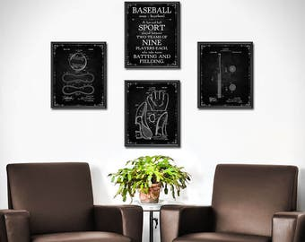 Baseball Room Decor Set Of 4