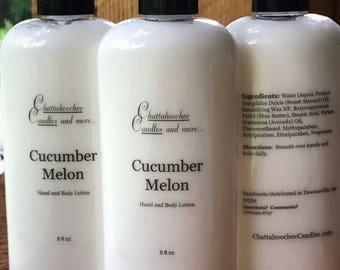 Handmade Cucumber Melon Hand and Body Lotion- 8oz Bottle