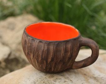 Orange mug Rustic mug Coffee mug Woodland cup Polka dot cup Pumpkin mug Unique mug His and hers Birthday gift Christmas gift Girlfriend gift