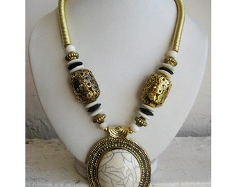 Off White Pendant Necklace/Bohemian Necklace/Gold Oxidized Necklace/Statement Necklace/Bib Necklace - Beaded Jewelry