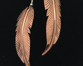 Native American Navajo Copper Feather Earrings