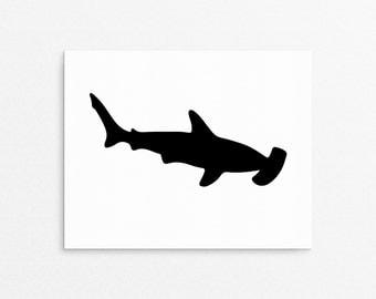 Childrens Wall Art, Shark Prints, Shark Posters, Kids Prints, Wall Art Poster, Shark, Playroom Art, Children Decor, Hammerhead Shark, Prints