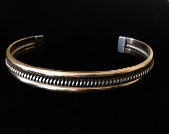 Vintage Sterling Silver and gold native American bracelet Artist signed