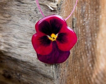 Red Pansy Flower Pendant