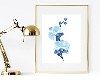 Orchid watercolor painting, printable blue watercolor flower, blue home decor, blue flower wall art, ptrintable botanical flower home decor