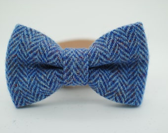 Harris Tweed Dog Bow Tie - Blue Herringbone.  Luxury, dapper, handmade, bowtie, bow, colllar bow
