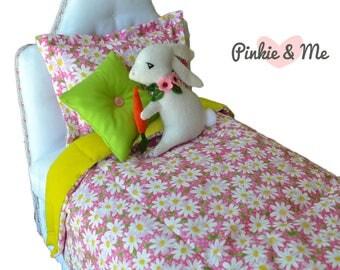 "18"" Doll Bedding 4 Piece Set ~ Rabbit And Flower"