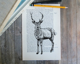Dictionary Wall Art, Deer Print, Reindeer Poster, Woodland Animals, Deer Decor, Autumn Decor, Rustic Art, Nature Print, Lodge Decor