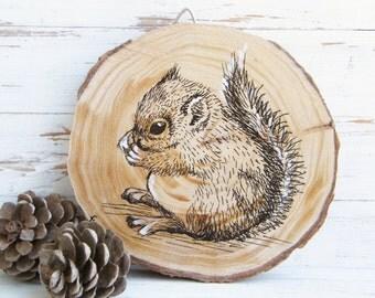 Woodland Nursery Art, Squirrel Print, Woodland Animals, Squirrel Picture, Woodland Baby Shower, Kids Decor, Country Decor, Wood Slice Art