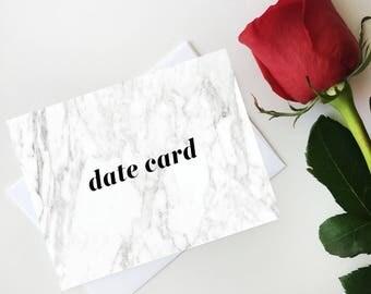Marble Date Card Notecard, Digital Postcard, Bachelorette Date Card, Bachelor Postcard, Digital Download, Printable Postcard, Most Popular