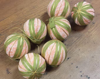 Victorian Christmas Ornaments ~ Ivory Lace, Green Gold Ribbon