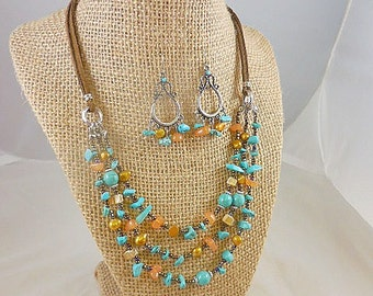 Turquoise Agate Nugget Beaded  Necklace Earrings Set