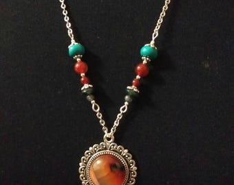 Chain necklace  combining  agate & torquis gemstone