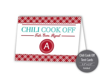 "Chili Cook Off Buffet Tent Cards Template --- 3.5"" x 2.5"" (folded) --- Instant Download --- #C550-TC"