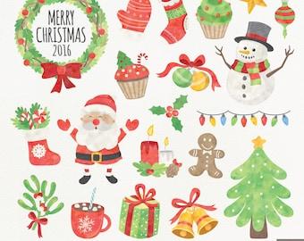 Watercolor Christmas Digital Clipart