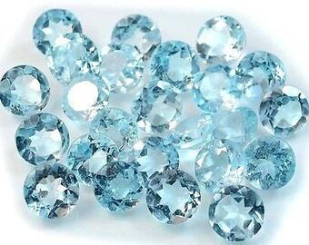 5pcs wholesale lot of 4mm round sky blue topaz