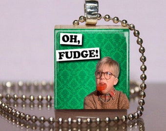 Oh Fudge Ralphie Scrabble Jewelry. A Christmas Story Scrabble Necklace.  Ralphie Charm Bracelet - Key Ring. Fun Stocking Stuffer. 72