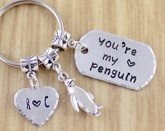 You're My Penguin Keychain with Couples Initials | Penguin Wedding Gift | Penguin Anniversary Gift | Hand Stamped Silver Key Ring SRA452-2