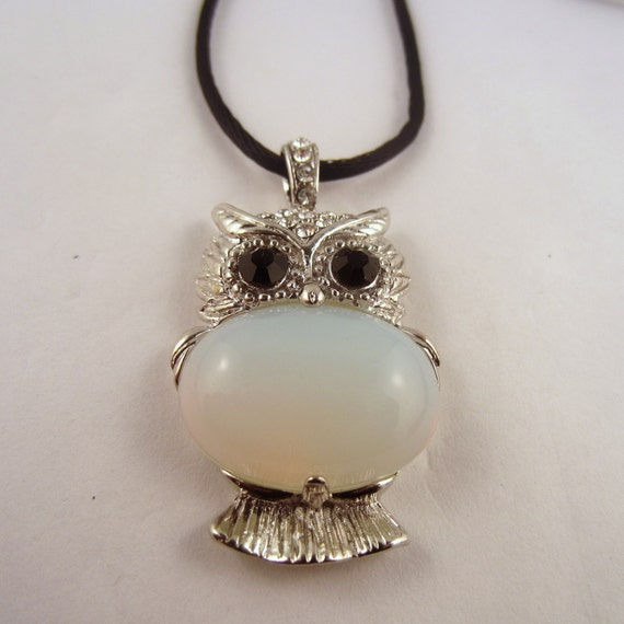 Owl Pendant Necklace Opalite Natural Crystal Pendant, Stone Jewelry