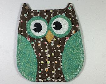 Owl, Pot Holder,  Handmade,  Hostess Gift, Sorority Owl, Housewarming gift, Thank You Gift, Teacher Gift,  Hot Pad, Turquoise, Brown