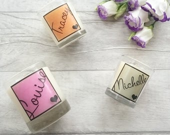 Name Candle, Best Friend Gift, Bridesmaid Gift, Birthday Gift, Hen Party Favours, Thank You For Being My Bridesmaid, Personalised Gift