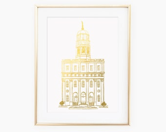 Illustrated LDS Nauvoo Temple Gold Foil Art Print
