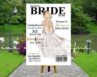 PRINTABLE Bridal MAGAZINE Welcome Poster,  Welcome Bridal Shower Poster, Bridal Shower Welcome Poster, Fashion Bridal Shower MG030
