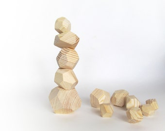 Gift for baby - TWELVE Stackable Block Sculpture -Handmade Balancing Blocks-Natural Toy