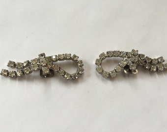 Vintage Clear Crystal Rhinestone Shoe Clips 0884