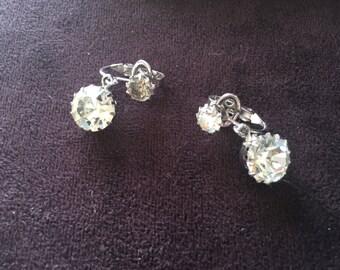 Crown Trifari Clear Rhinestone Dangle Earrings - Wedding 0918